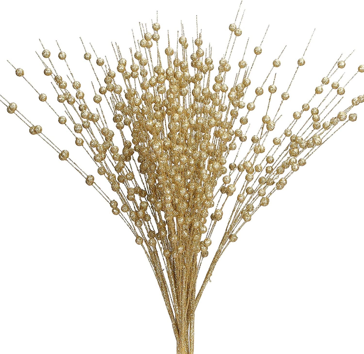 Greentime 10 Pack Golden Artificial Glitter Berry Stem Ornaments 19.7 Inches Fake Christmas Picks Decorative Glitter Sticks for Christmas Tree DIY Wreath Crafts Gift Fireplace Holiday Home Decor