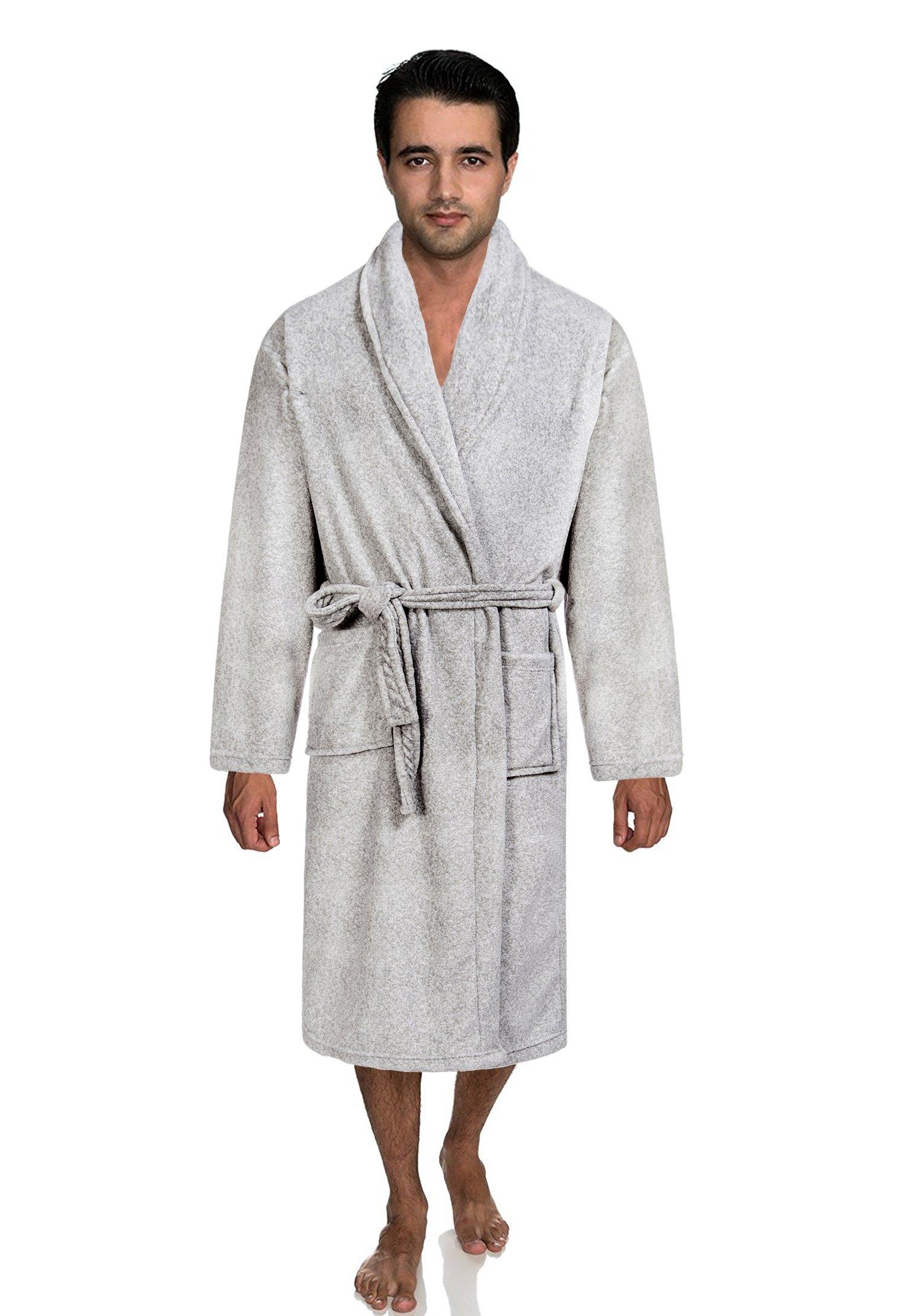 Ataya Men's Robe,Plush Coral Fleece Shawl Collar Kimono Bath Robe,Grey,Medium/Large