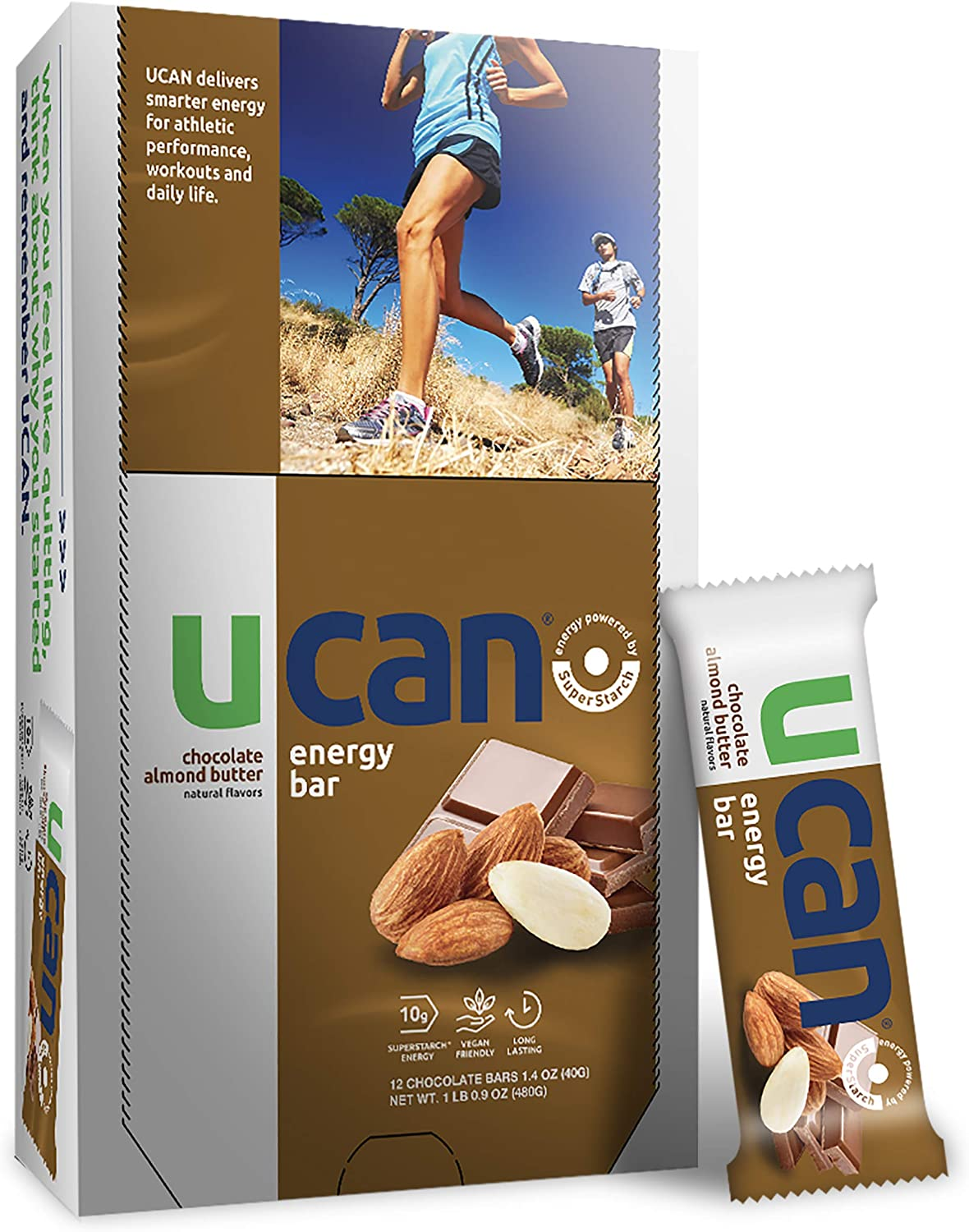UCAN Plant Based Energy Bars - Long Lasting Healthy Energy Snack - No Added Sugar, No Soy, Non-GMO, Vegan, Gluten Free, Keto Friendly w/ Plant Based Protein -12 Count - Chocolate Almond Butter