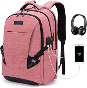 Tzowla Travel Laptop Backpack Anti-Theft Water Resistant Business Backpack TSA Lock & USB Charging Port TSA Friendly Computer Backpack Men Women College School Bag Fit 16 inch Laptops… (PunchRed)