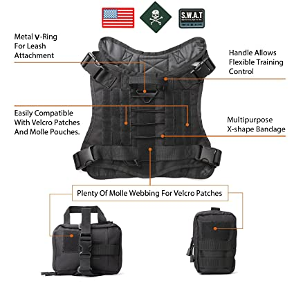 6822f20db46e JASGOOD Tactical Dog Vest Military Harness with Detachable Molle Pouches  Outdoor Training Handle Service Dog Vest