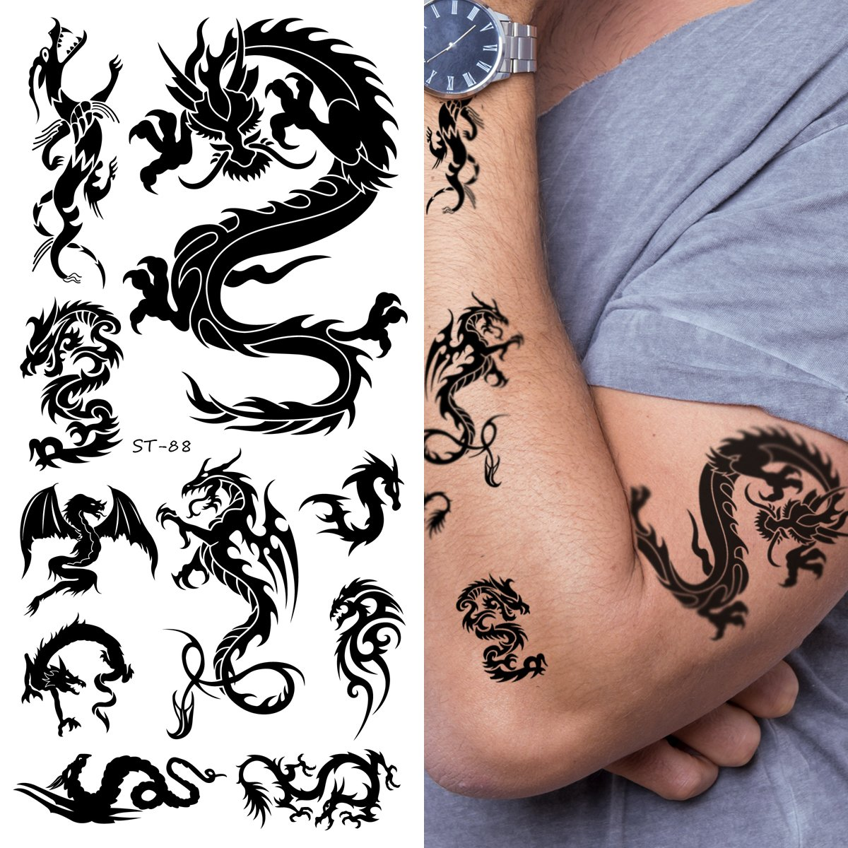 Supperb temporary tattoos small dragons for Fake tattoos amazon