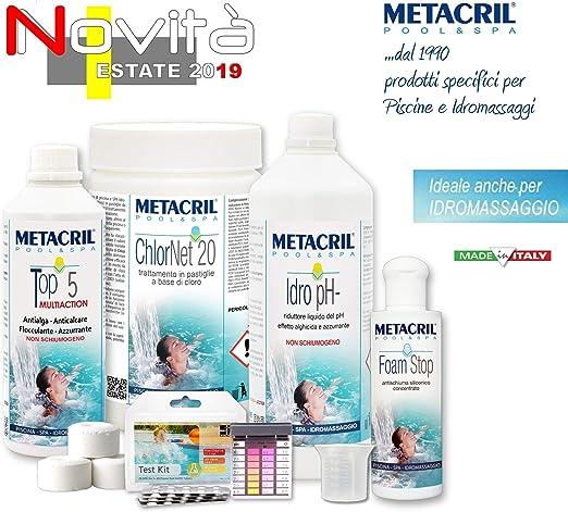 Metacril Easy Kit Cloro para hidromasajes y Piscinas. Tratamiento ...