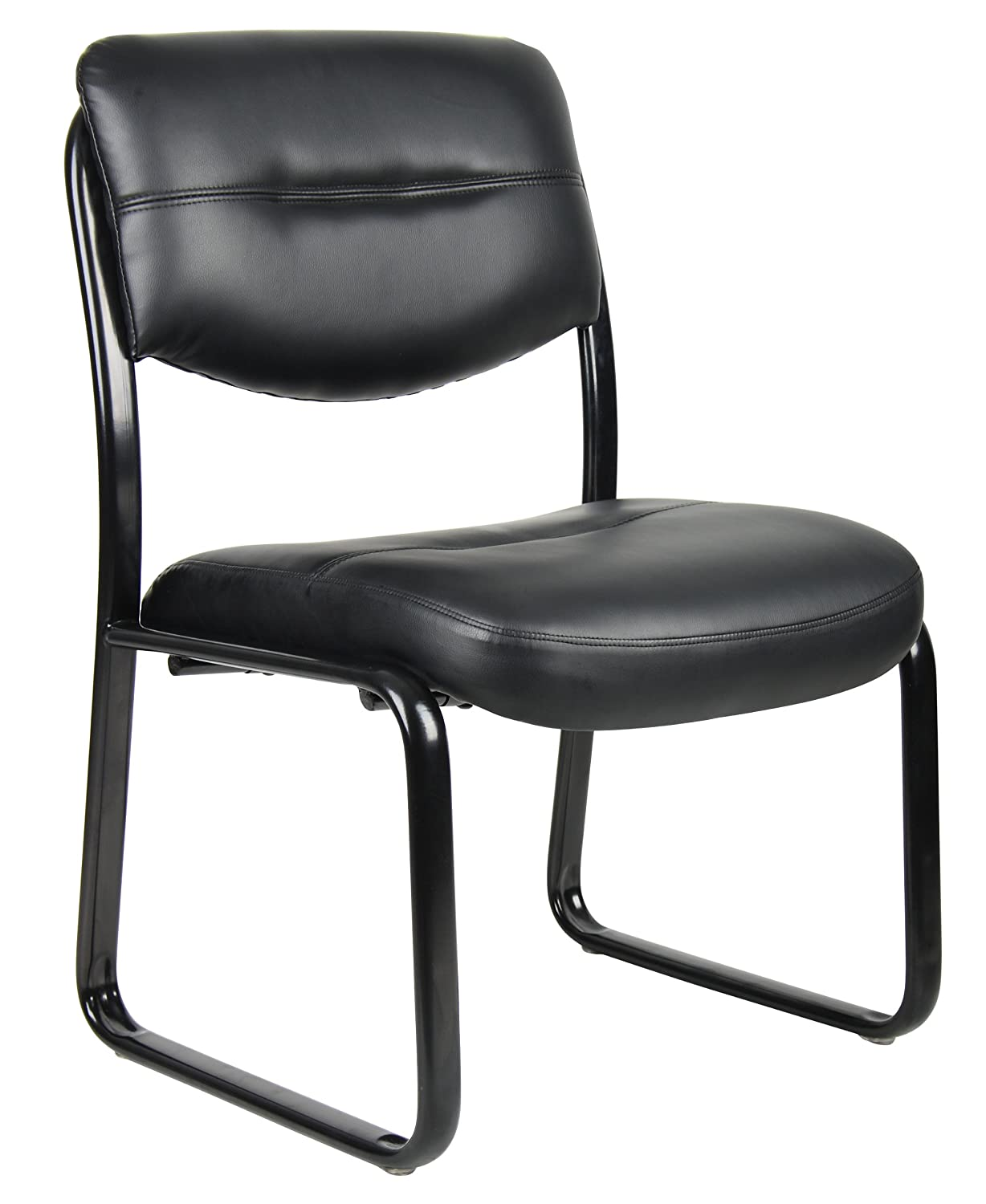 Connected waiting room chairs - Boss Office Products B9539 Leather Sled Base Side Chair In Black