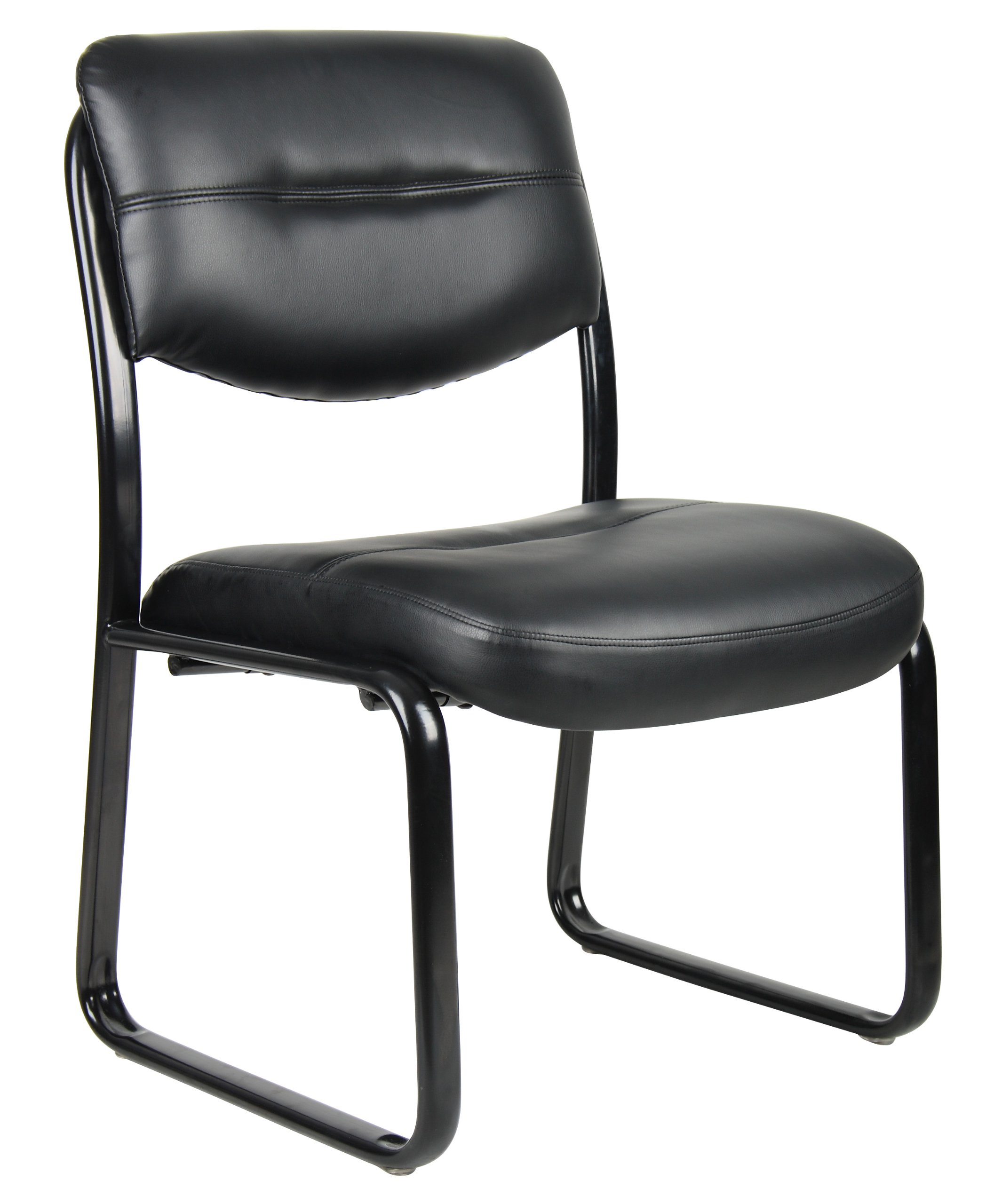 Boss Office Products B9539 Leather Sled Base Side Chair in Black by Boss Office Products
