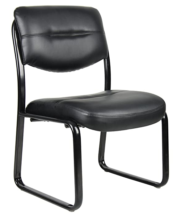 Boss Office Products B9539 Leather Sled Base Side Chair in Black