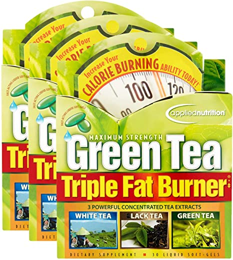 Applied Nutrition Green Tea Triple Fat Burner, 30 Liquid Soft-Gels (Pack of 3)