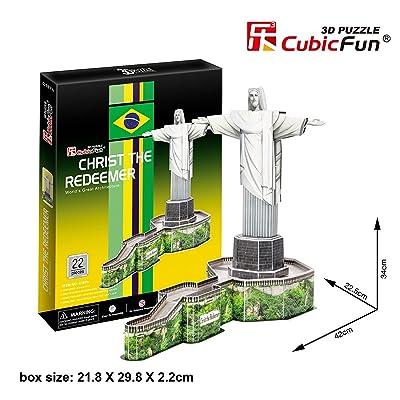 3D Puzzle Jesús estatua en Río de Janeiro Brasil Christ the Redeemer Jesus Statue Cubic Fun Christusstatue Statue Christus Brasilien Rio the Janeiro: Juguetes y juegos