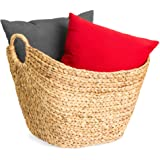 Best Choice Products Large Vintage Multipurpose Hyacinth Storage Basket, Handwoven French-Style Organizer Tote for Bedroom, L
