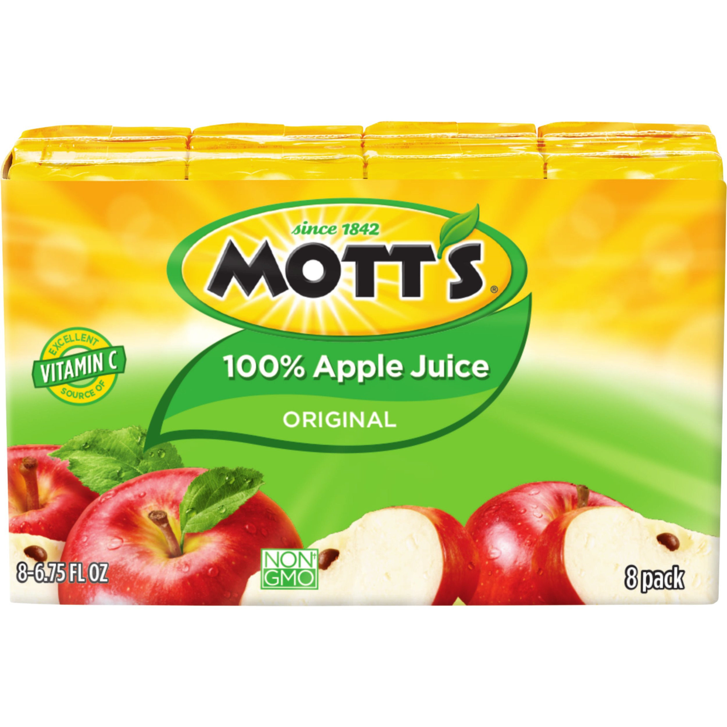 Mott's 100% Original Apple Juice, 6.75 Fluid Ounce Juice Box, 8 Count