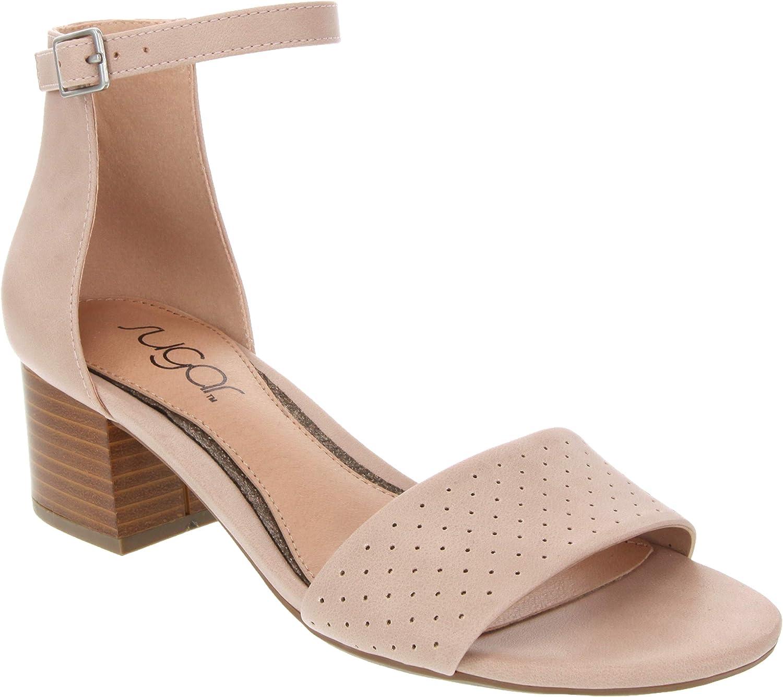 Sugar Womens Noelle Low Two Piece Block Heel Dress Shoe Ladies Ankle Strap Pump Sandal