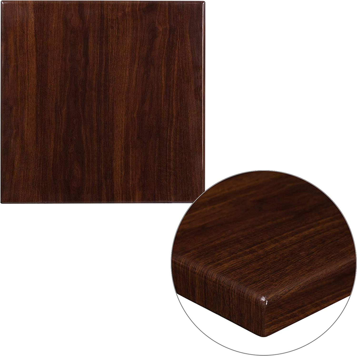 Flash Furniture 24'' Square High-Gloss Walnut Resin Table Top with 2'' Thick Drop-Lip