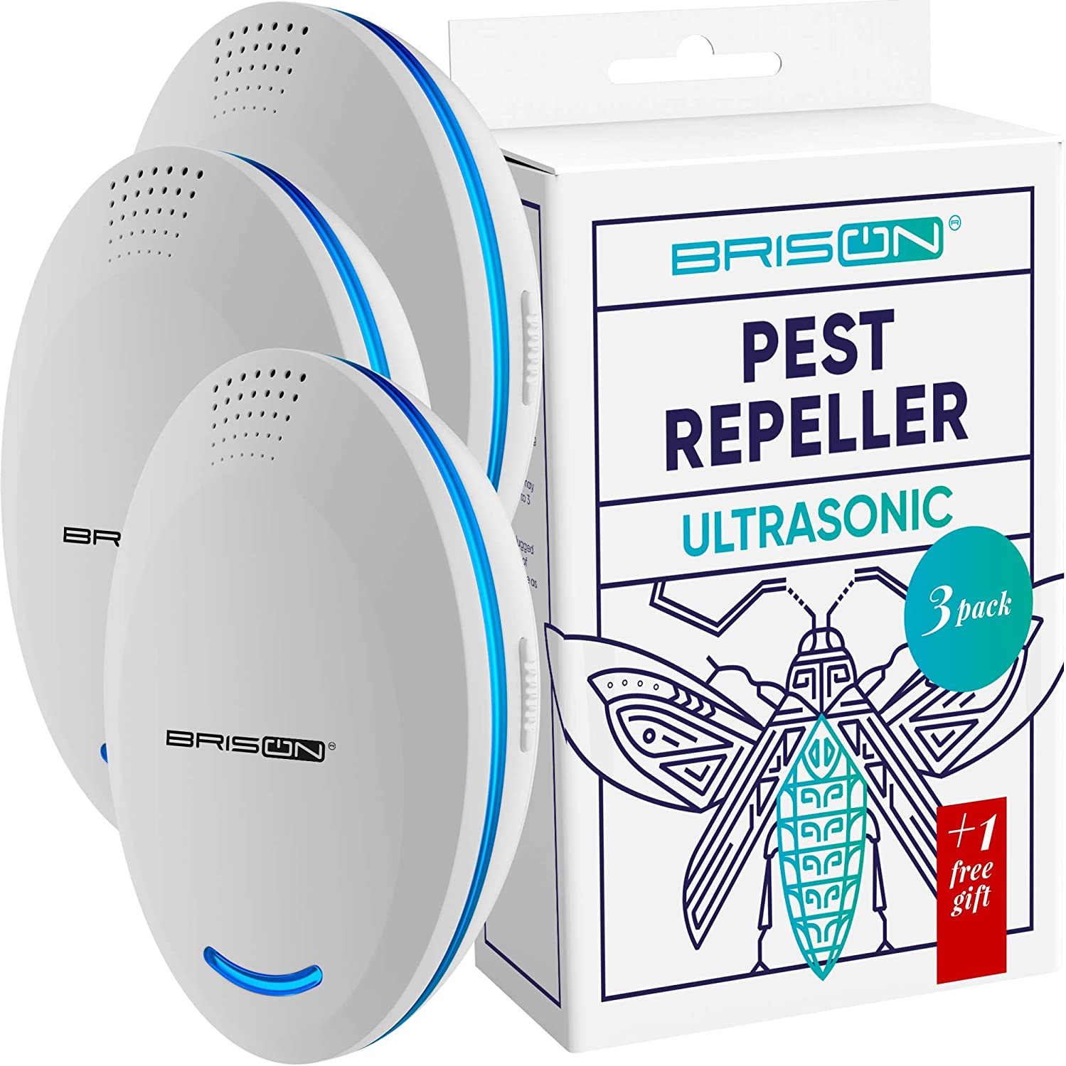 Ultrasonic Pest Repeller Plug-in Control Electronic Insect Repellent Gets Rid Mosquito Bed Bugs Roach Spiders Fleas Mice Ants Fruit Fly [3+1-Pack]
