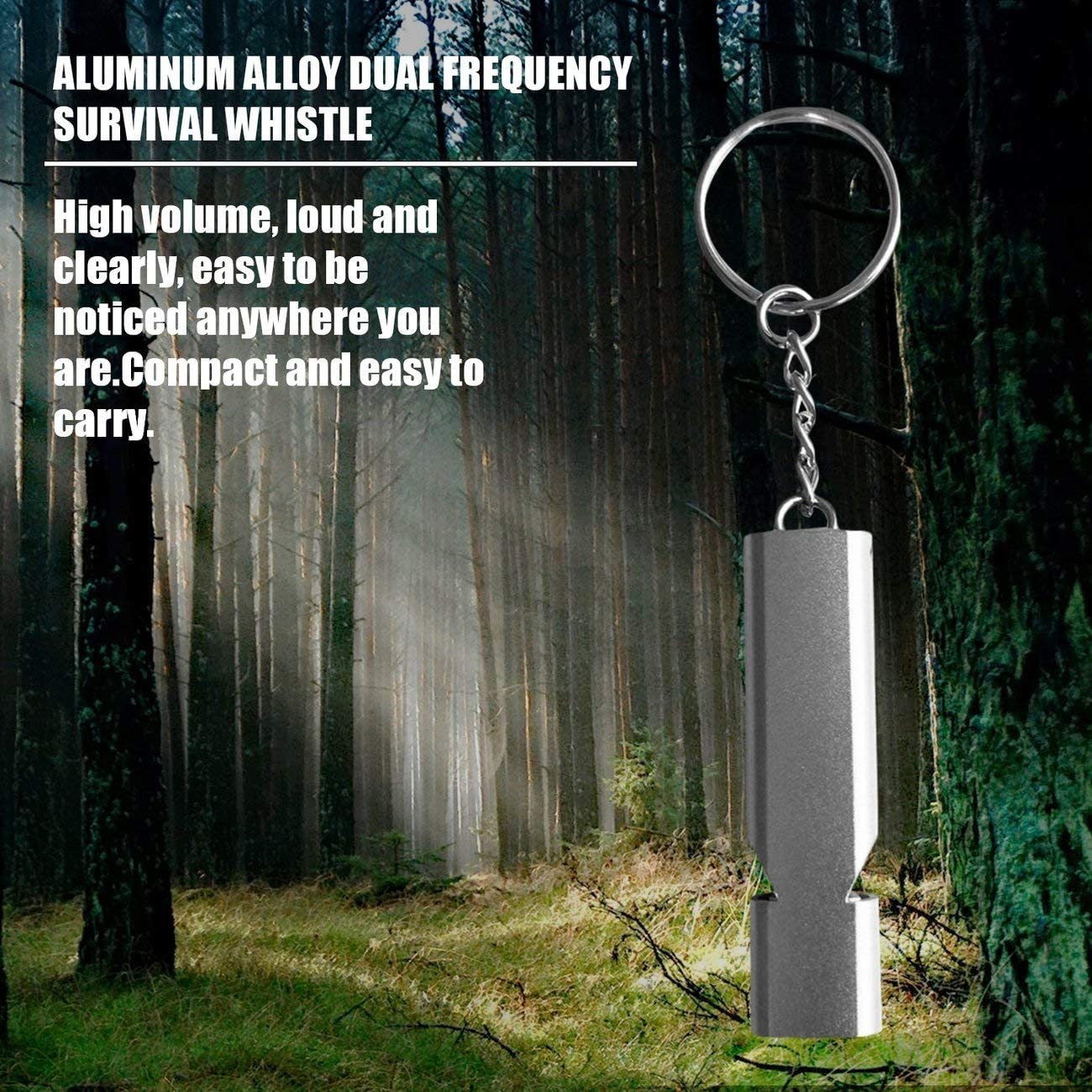 silver /& silver fengzong Double-Hole Emergency Survival Whistle Keychain Aluminum Alloy Whistle Camping Hiking Accessory Tool