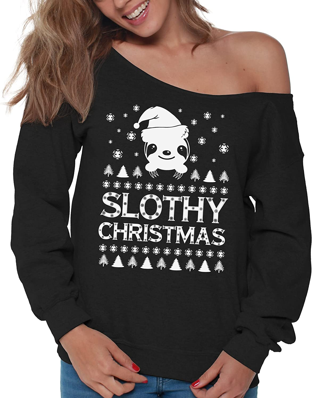 Slothy Christmas Sweatshirt Off the Shoulder sweatshirt sweater Ugly Christmas sweatshirt Slouchy Oversized Sweatshirt Off the shoulder top