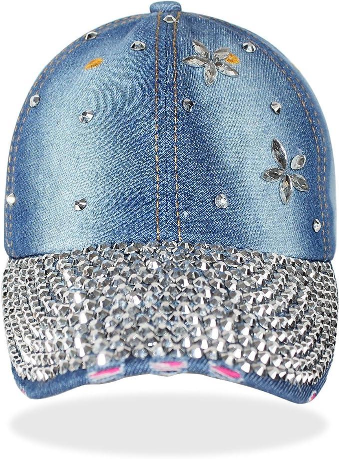 K003 dy/_mode Damen M/ütze Jeans Kappe Basecap mit Glitzer