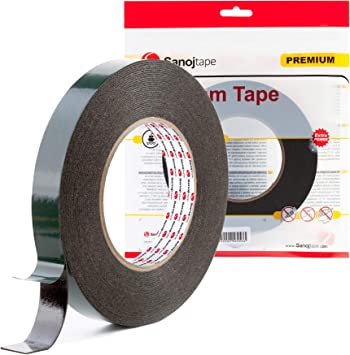 Set Of 4 12mm x 5m Black Multi Purpose Double Sided Adhesive Automotive Foam Car Body Tape