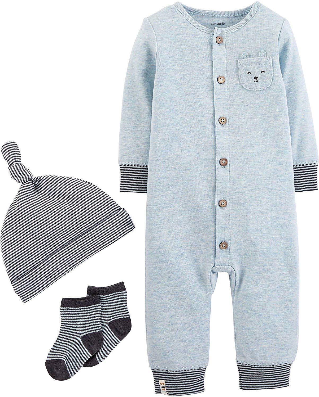 089e22299 Amazon.com: Carter's Baby Boys 3-pc. Cute Take Me Home Layette Set 6 Months  Blue/Grey: Baby