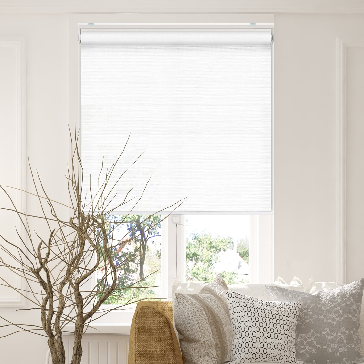 """Chicology Cordless Roller Shades Snap-N'-Glide, Privacy & Natural WovenPerfect for Living Room/Bedroom/Nursery/Office and More.Felton Sand (Privacy & Natural Woven), 33""""W X 72""""H"""
