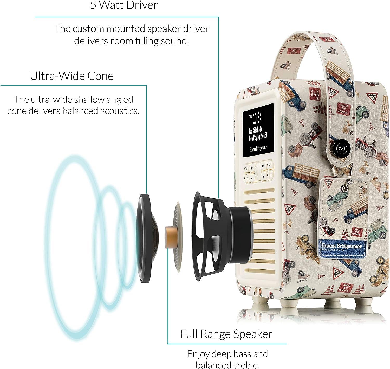VQ Retro Mini DAB//DAB Emma Bridgewater Anemone Digital und FM-Radio mit Bluetooth und Weckfunktion