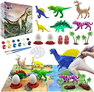Kids Dinosaur Painting Kit with Play Mat, Animal Crafts and Arts Supplies Set, Decorate Your Own Dinosaur Figurines DIY Painting Toys for Boys Girls Age 4 5 6 7 Years Old