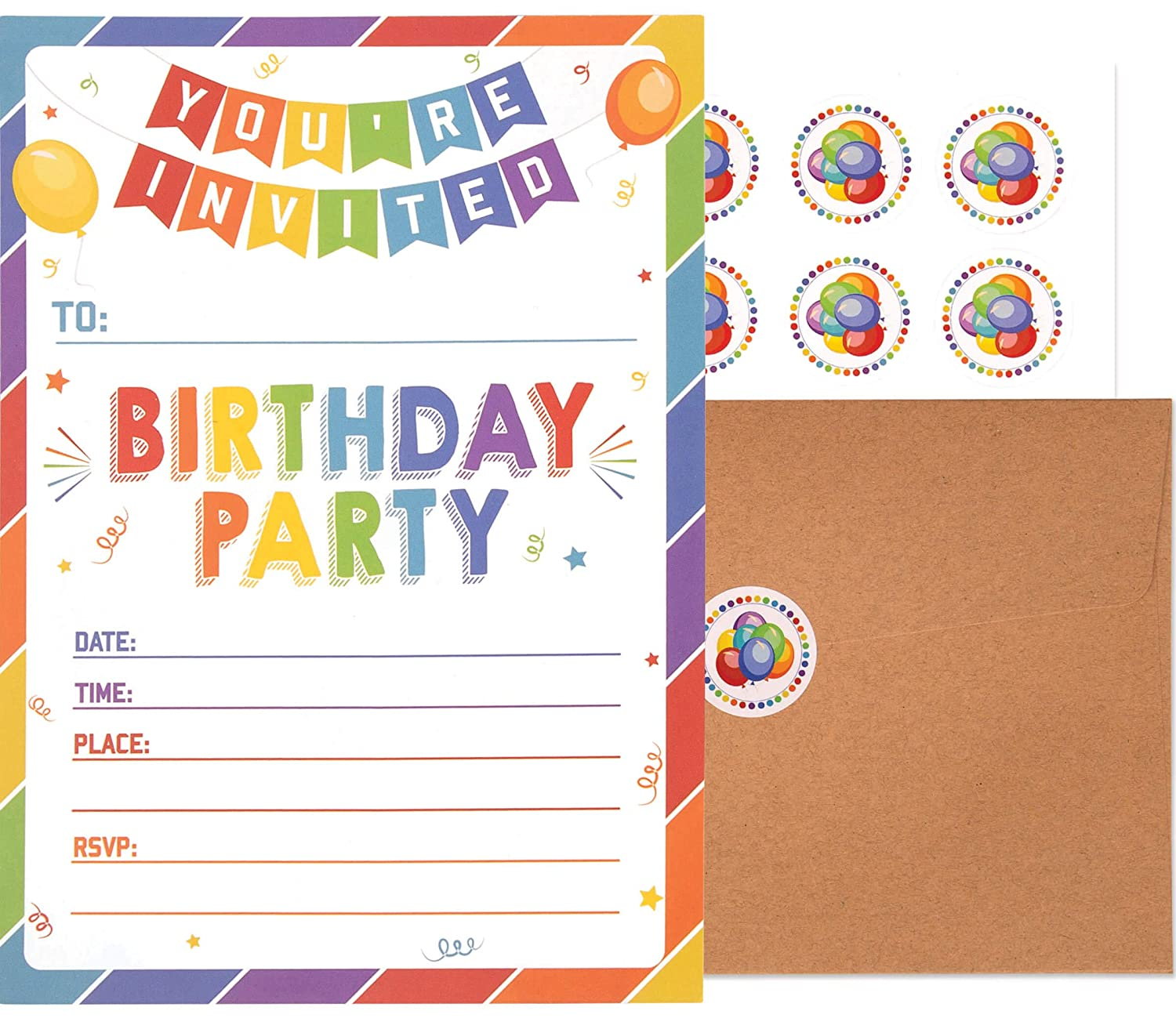 Birthday Invitations With Envelopes And Stickers 25 Pack Kids Rainbow Party Invites Colorful