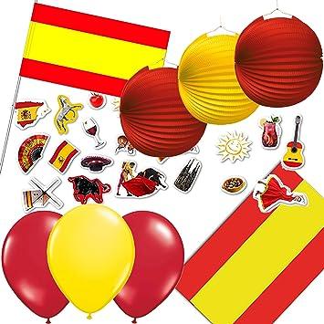 Juego de decoración 77 piezas * España * para una fiesta de países banderas de//Con Mantel + + farolillos + Globos + Confeti//Juego decoración decoración fiesta temática: Amazon.es: Juguetes y juegos