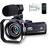 4K Camcorder Vlogging Camera for YouTube Ultra HD 4K 48MP Video Camera with Microphone & Remote Control WiFi Digital Camera 3