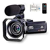 4K Camcorder Vlogging Camera for YouTube Ultra HD 4K 48MP Video Camera with Microphone & Remote Control WiFi Digital Camera IR Night Vision 3.0