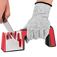 DeYoun Kitchen Knife Sharpeners, Professional 4-in-1 Knife Sharpening Tool Helps Repair, Restore and Polish Your Kitchen Knives & Scissors, Quick & Easy to Use - Cut Resistant Gloves Included.