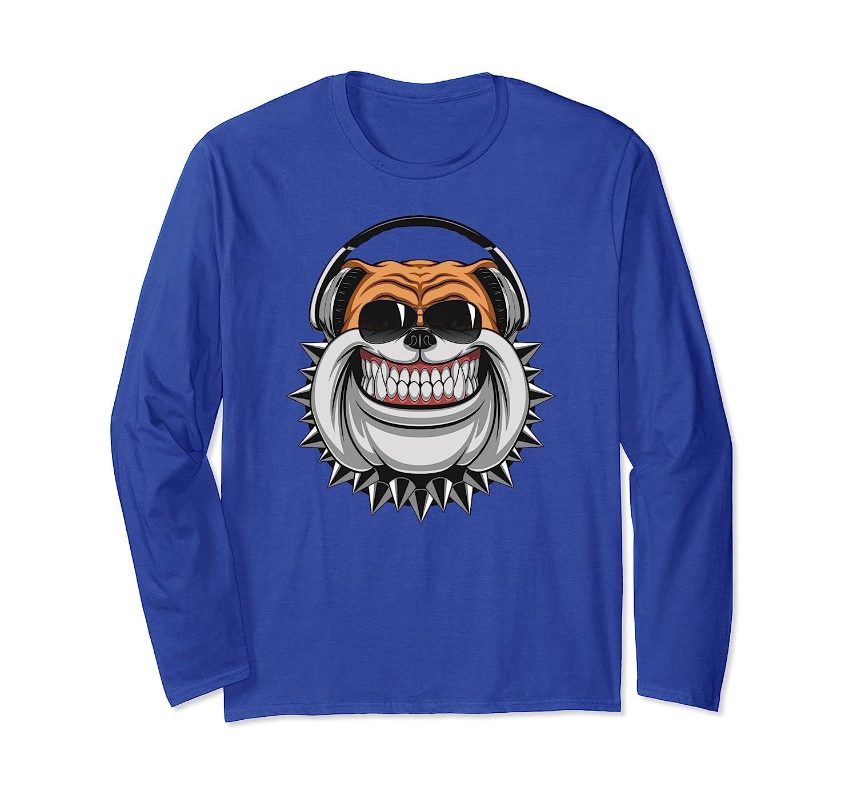 Funny Bulldog With Aviator Sunglasses Music Headphones Shirt-AZP