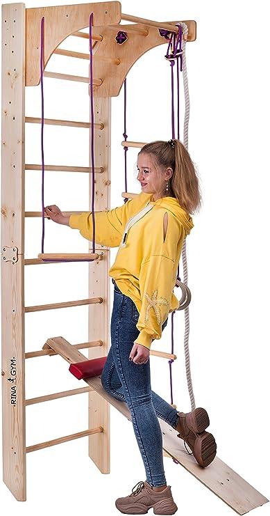 RINAGYM Espaldera de Fitness Kombi-3-230 Espaldera para Gimnasio Escalera Sueca Niños de Juegos: Amazon.es: Hogar