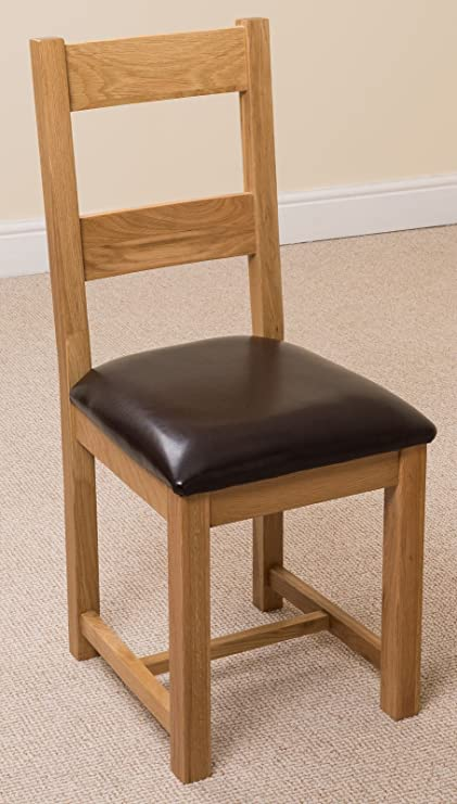 X2 Lincoln Solid Oak And Brown Leather Dining Room Chairs