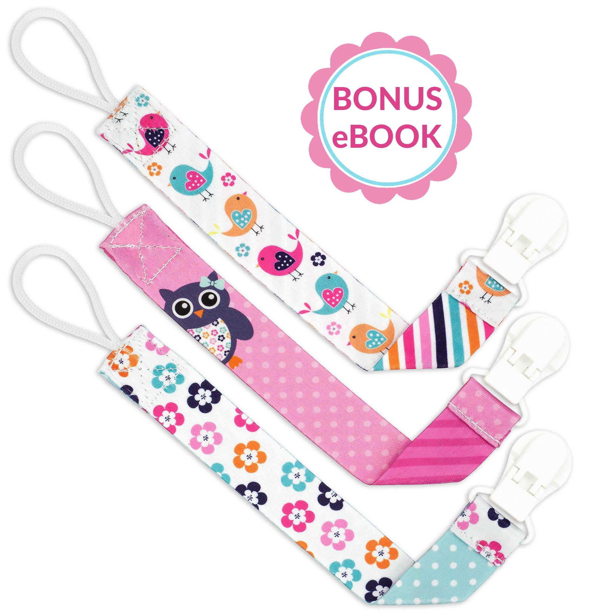 Amazon liname pacifier clip for girls with bonus ebook 3 liname pacifier clip for girls with bonus ebook 3 pack gift packaging premium quality negle Gallery