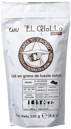Cafés El Criollo Café en Grano El Salvador Los Pirineos - Paquete de 4 x 250