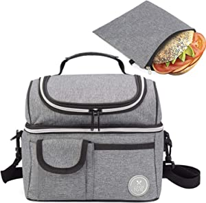 Lunch Tote Bag & Reusable Sandwich Bag Bundle - Double Compartment Lunch Tote and snack Ziploc Bag - Food Grade Quality -Insulated Lunch Box for Kids Women Men - Eco-Friendly Travel Lunch Cooler