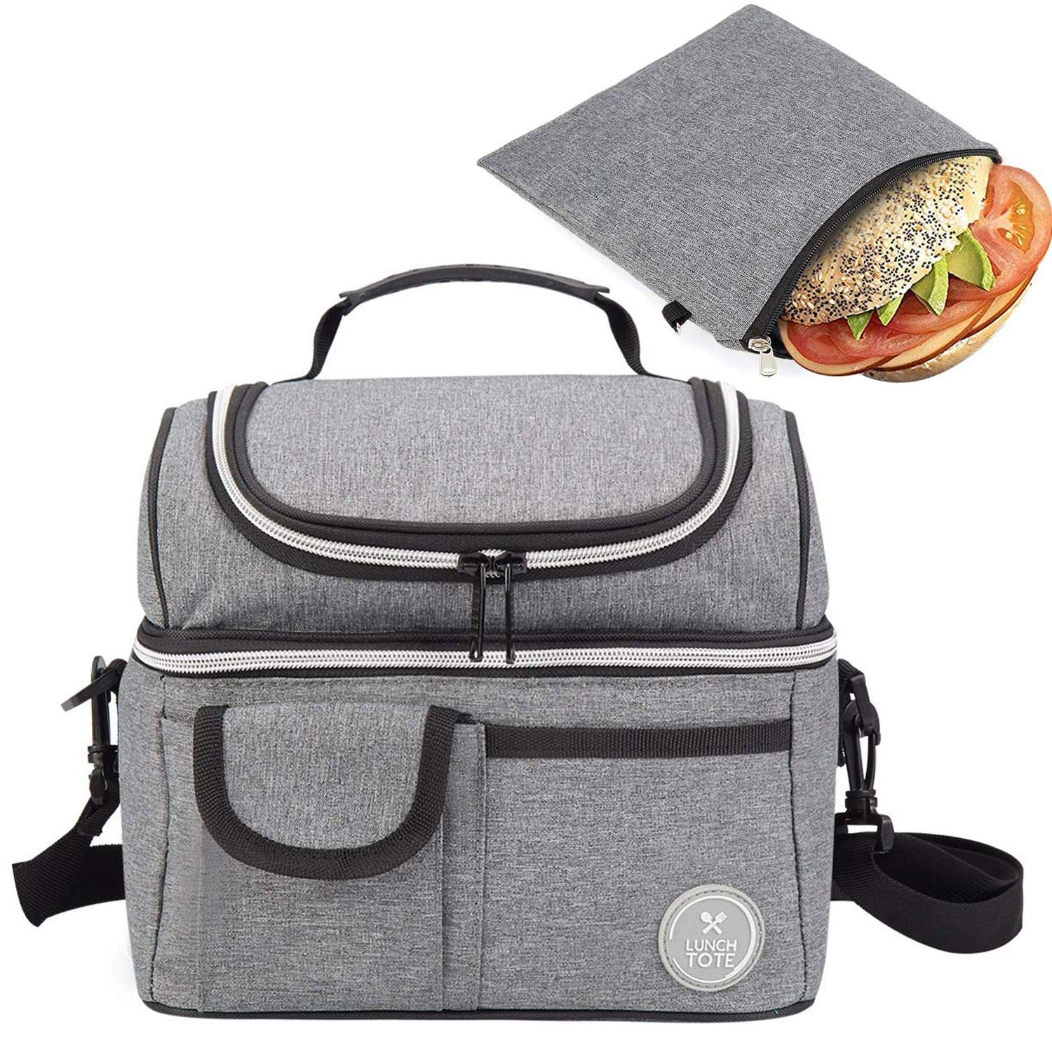 Lunch Tote Bag & Reusable Sandwich Bag Bundle - Double Compartment Lunch Tote and snack Ziploc Bag - Food Grade Quality -Insulated Lunch Box for Kids Women Men - Eco-Friendly Travel Lunch Cooler by lunch tote