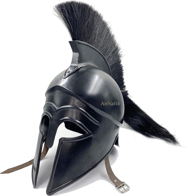 AnNafi Casco corintiano griego con forro | Armadura medieval del caballero antiguo | Réplica de casco para adulto con ciruela negra LARP SCA Disfraz de fiesta de Halloween