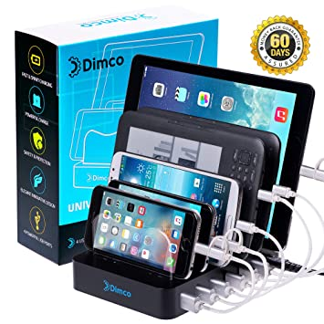 Dimco USB Fast Charging Station - Compatible with Apple iPhone iPad Tablet  Charging Dock - Android Kindle Fire Micro USB Cell Phone Docking Station -