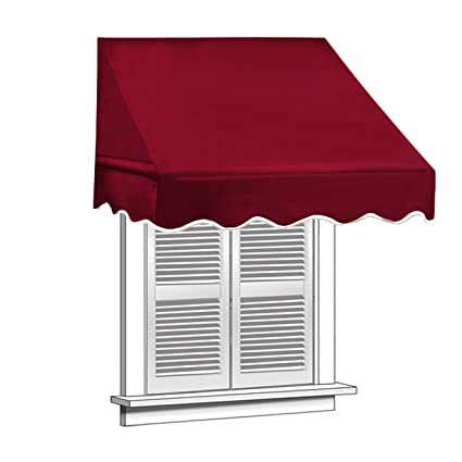 ALEKO Window Awning Door Canopy 4 Foot Decorator 4x2 Feet Burgundy