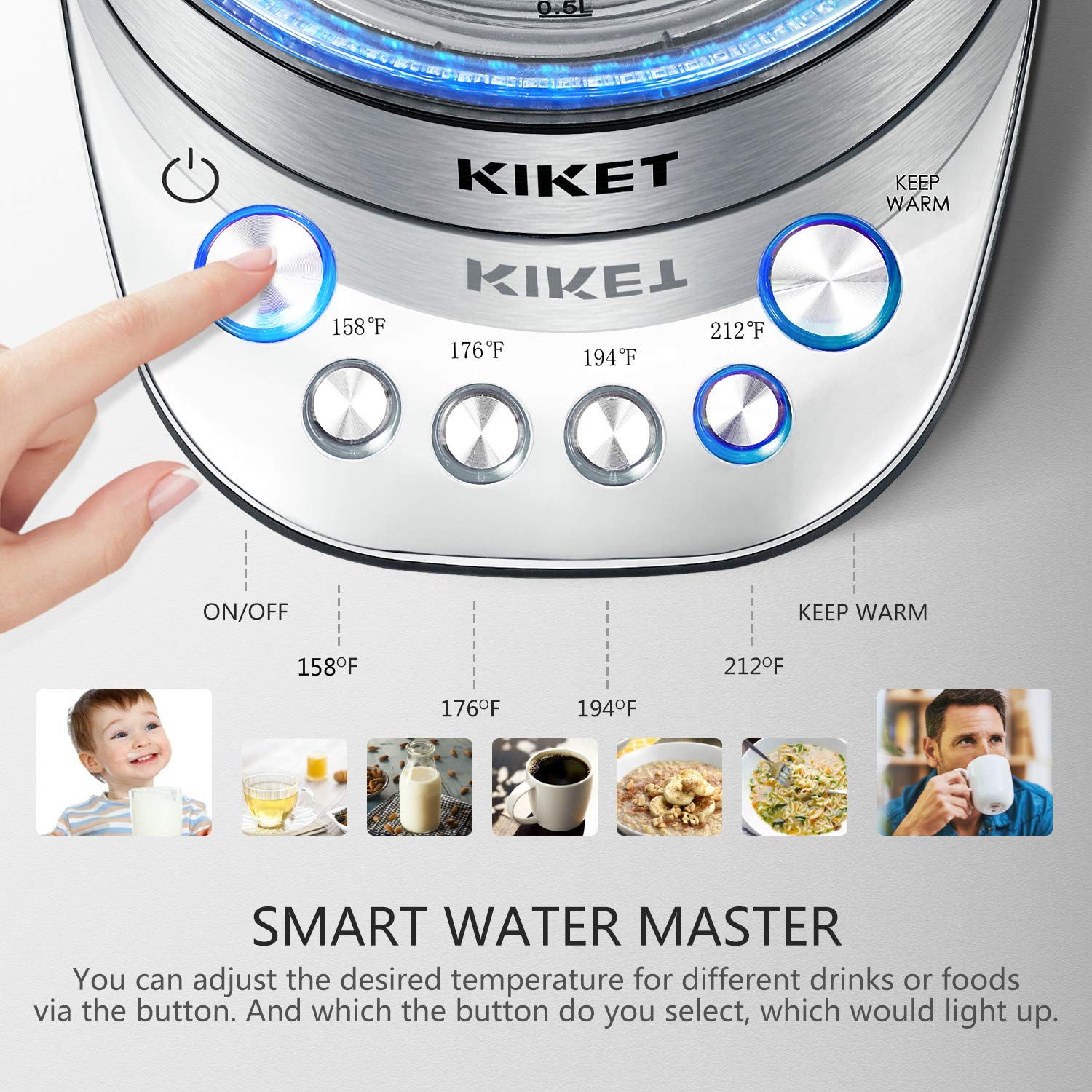 Electric Kettle Temperature Control, 100% BPA Free Pure Glass Water Boiler, 1.7L Cordless Tea Kettle with LED Indicator Light, High End Design for Tea and Coffee Brewing, Boil Dry Protection, by KIKET by KIKET (Image #2)