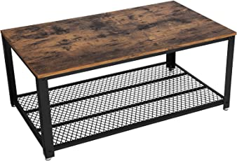 SONGMICS Vintage Coffee Table, Cocktail Table With Storage Shelf For Living  Room, Wood Look