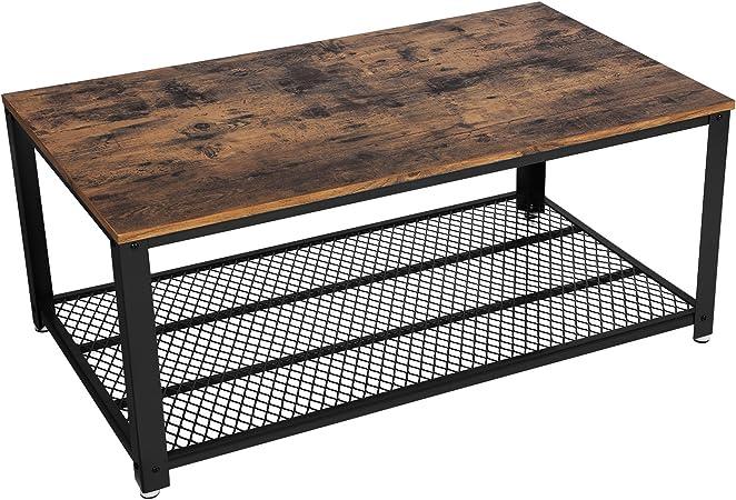 Meerveil Table Basse Table de Salon Bout de Canap/é Table Caf/é Veinure du Bois et Armature M/étallique Rigide Chambre 106 x 60 x 45 cm pour Cuisin Industriel Style Vintage