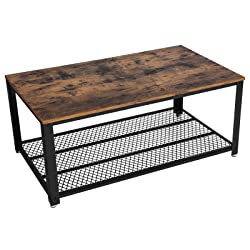 SONGMICS Coffee Table, Side Table, Cocktail Table, Industrial Style, with Metal Frame, with Storage Shelf, for Living Room, Vintage LCT61X
