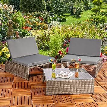 LD Jardín Set en Gris Sillas + 2 sillones + Mesa de Muebles ...