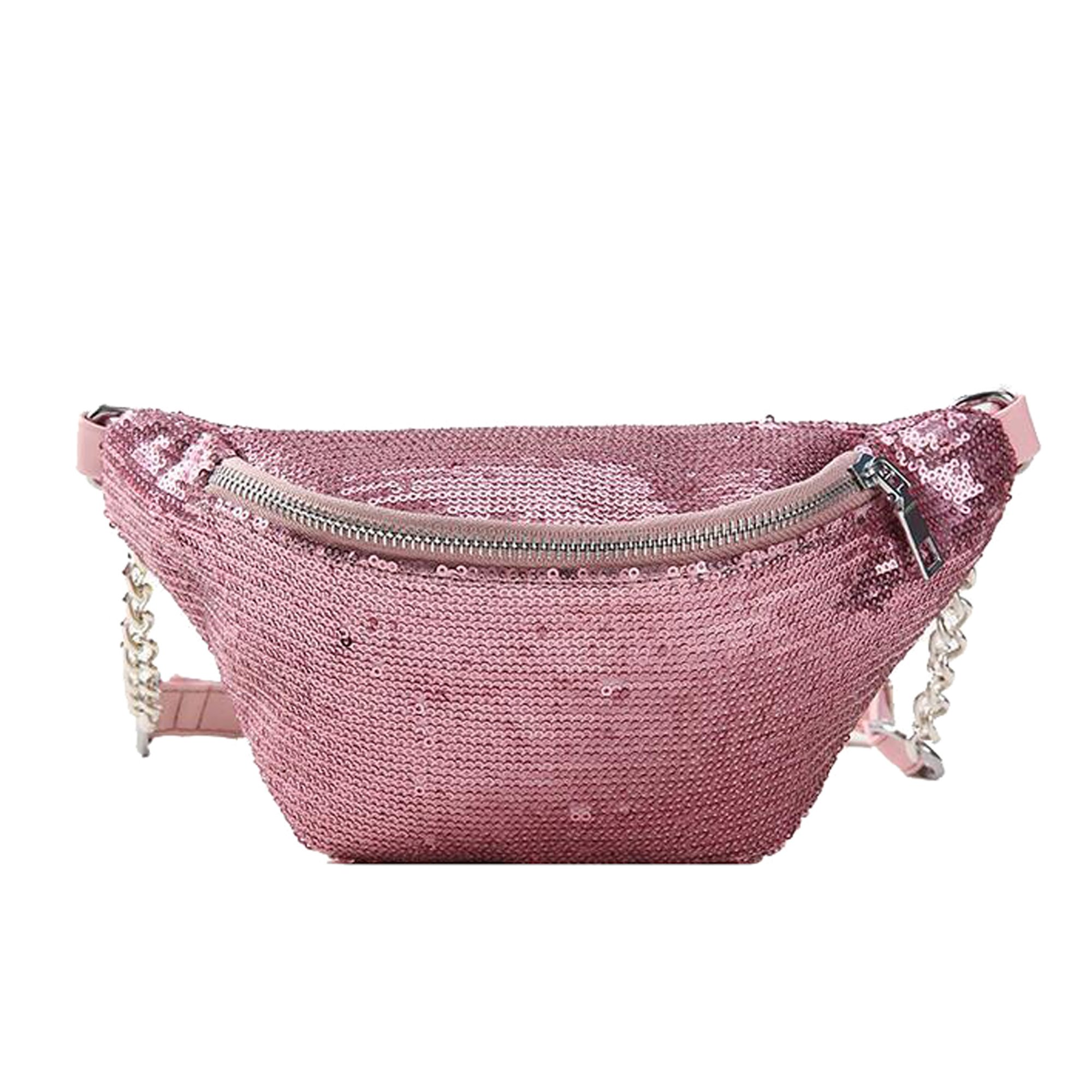 Womens Sequined Waist Fanny Pack Belt Pouch Sling Chest Bag Crossbody Hip Purse (pink)