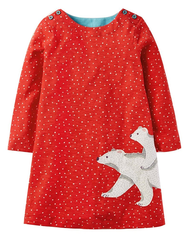 Hongshilian Girls Cotton Long Sleeve Cartoon Pattern Dress(Polar Bear & Red,5T)