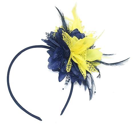 outlet pourtant pas vulgaire jolie et colorée Bleu marine et jaune Bibi sur serre-tête pour Ascot Mariage ...