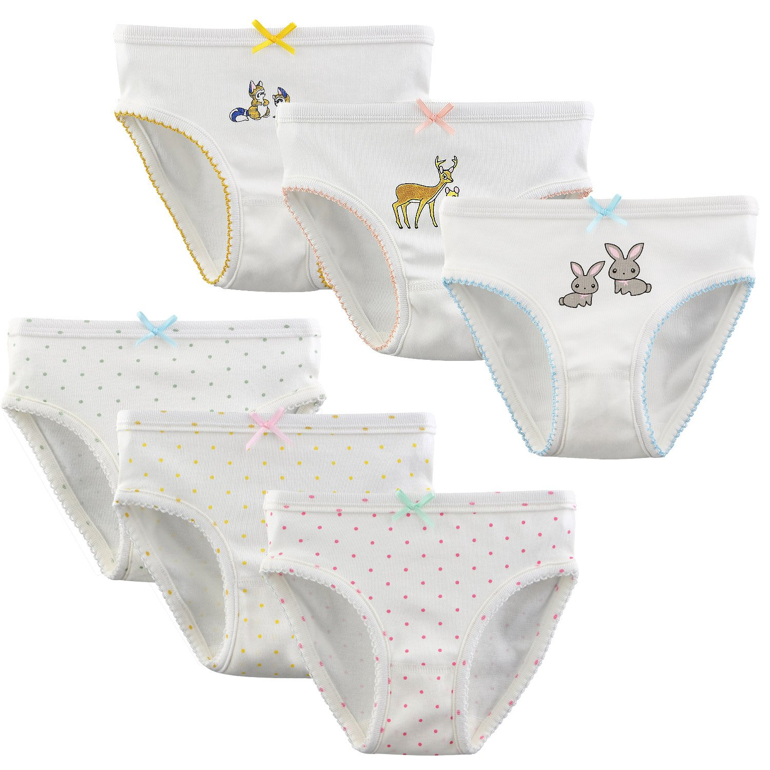 BOOPH 6-Pack Little Girls Baby Toddler Underwear Panties Briefs Soft Cotton Kids Hispster 7-8 Years by BOOPH (Image #1)