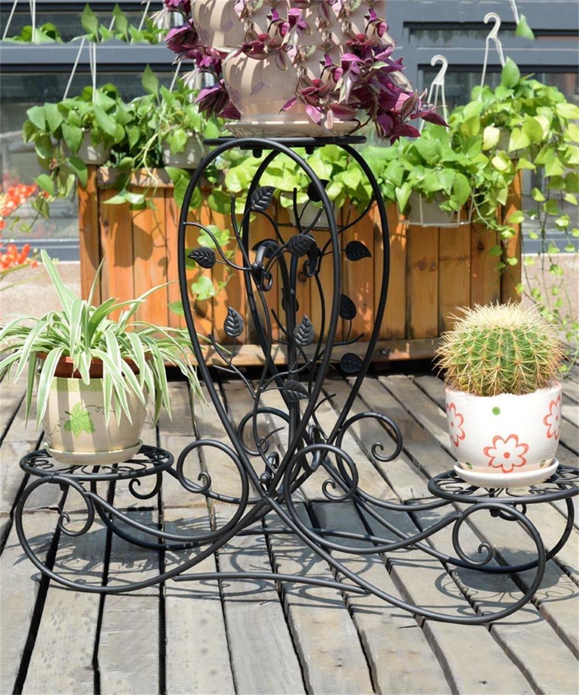 HZA Europäische - Stil Kreative Retro - Eisen 3 - Tier Boden Flower Pot Regal, Pflanzen stehen, Chlorophytum Blume Rack für Balkon, Wohnzimmer, Indoor Hochwertige Materialien ( farbe : Schwarz )